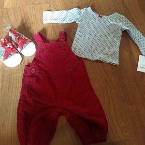 Newborn baby girl  bundle overalls ,shirt ,& shoes